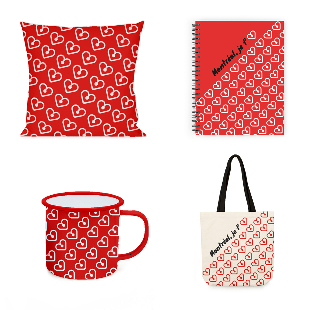 Montreal Souvenirs | I love MTL | Pillow, notebook, mug and tote