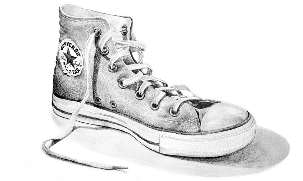 Pencil Drawing   Realism   Converse Allstar Shoe